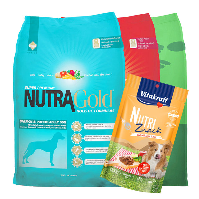 $18 ONLY + FREE TREATS [PETSALE]: NutraGold® Holistic Dry Dog Food - 5 Flavours (2 sizes)