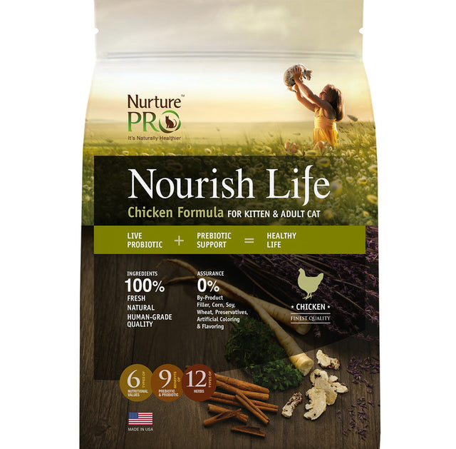 15% OFF: Nurture Pro® Nourish Life Chicken Formula Kitten & Adult Dry Cat Food (3 sizes)