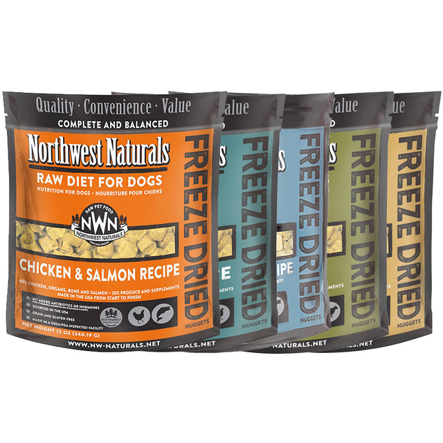 4 FOR $149 [SAVE $65]: Northwest Naturals® Freeze-Dried Nuggets Dog Food 340g (5 Flavours)
