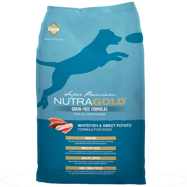 50% OFF + FREE WET FOOD: NutraGold® Grain-Free Whitefish & Sweet Potato Dry Dog Food (2 sizes)