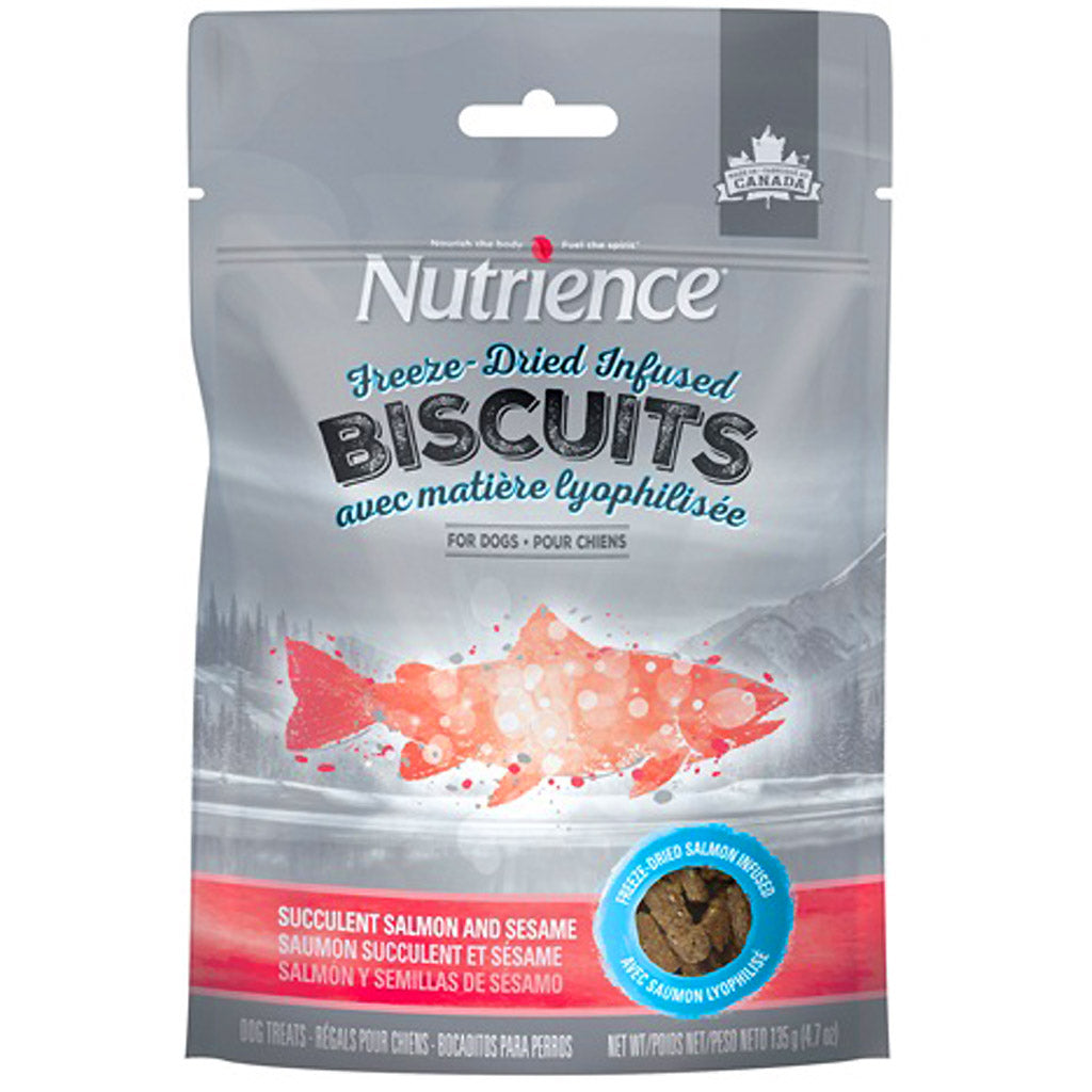 3 FOR $33: Nutrience® Freeze-Dried Infused Biscuits Succulent Salmon & Sesame Dog Treats 135g