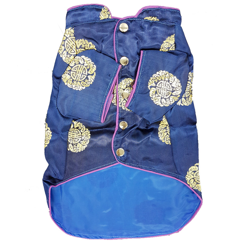 50% OFF [CNY19] : MOBY'S® Oriental Tang Jacket Navy Blue (Small & Medium Dogs)
