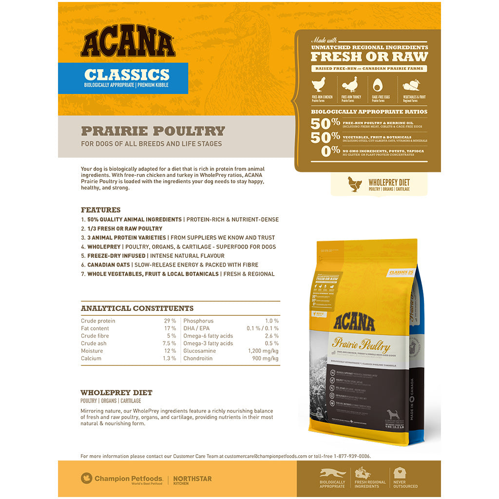 2 FOR $48 + FREE GIFT [SAVER]: ACANA® Classics Prairie Poultry Dry Dog Food 2kg