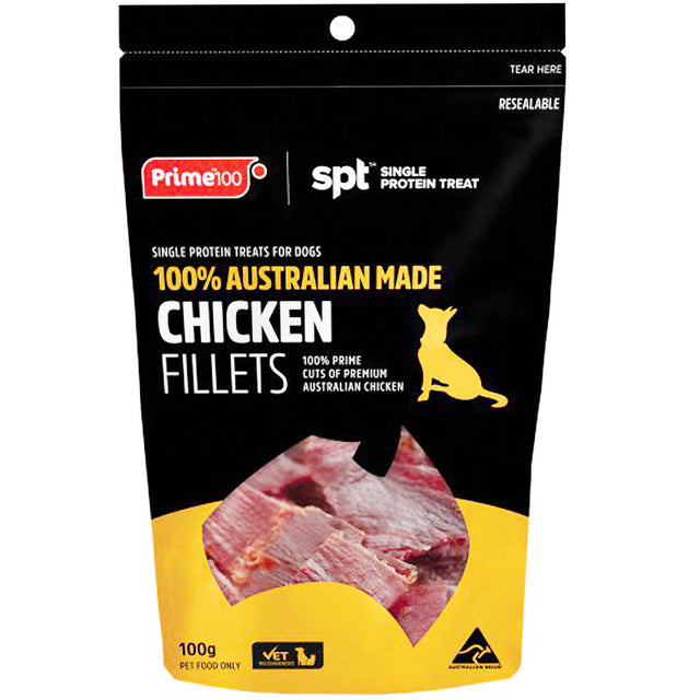 3 FOR $30 [SAVER]: Prime100® Single Protein Chicken Fillets Dog Treats (100g)