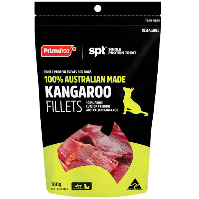 3 FOR $32 [SAVER]: Prime100® Single Protein Kangaroo Fillets Dog Treats (100g)
