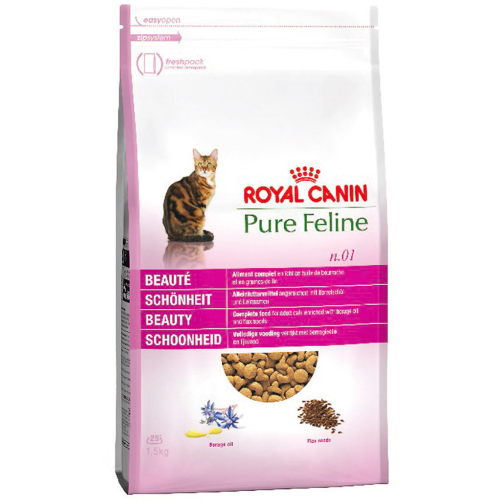 20% OFF + FREE BIN: Royal Canin® Pure Feline Beauty No. 1 Dry Cat Food (1.5kg)