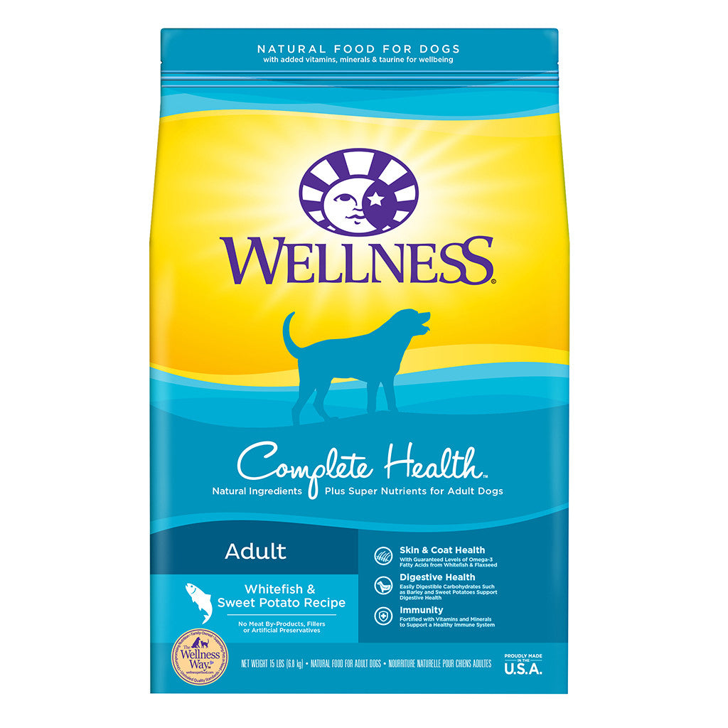 30% OFF + FREE TREATS: Wellness® Complete Health Whitefish & Sweet Potato Dry Dog Food (2 sizes)