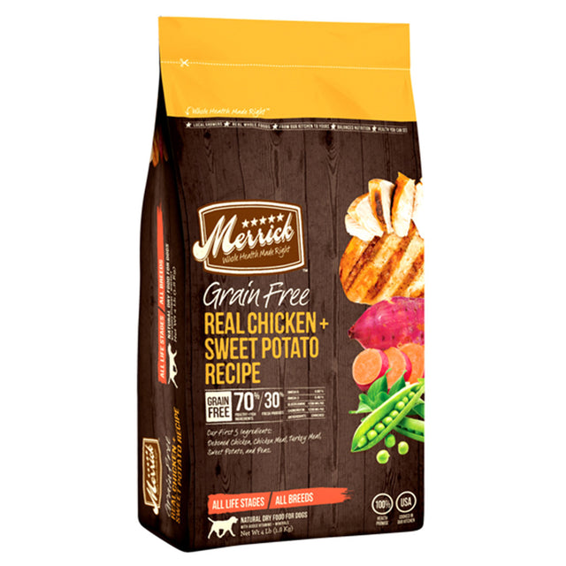 50% OFF + FREE TREAT: Merrick® Chicken & Sweet Potato Grain-Free Dry Dog Food (3 sizes)