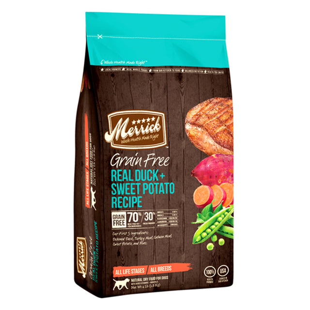 50% OFF w FREE TREATS: Merrick® Duck & Sweet Potato Grain-Free Dry Dog Food (3 sizes)