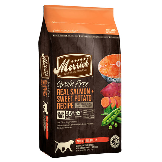 50% OFF + FREE TREAT: Merrick® Salmon & Sweet Potato Grain-Free Dry Dog Food (3 sizes)