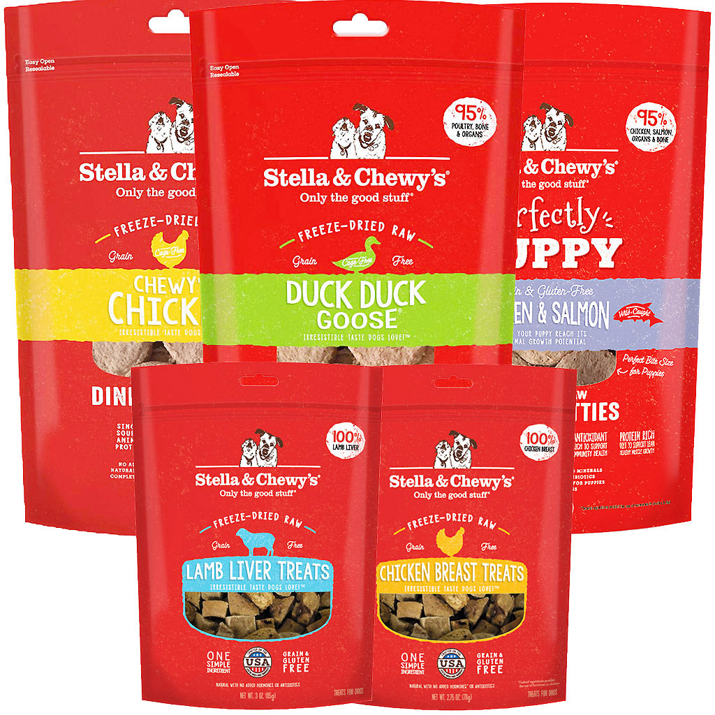 3 FOR $138 + FREE TREATS [SAVER]: Stella & Chewy's® Freeze-Dried Dinner Patties Dry Dog Food 397g (3 Flavours)