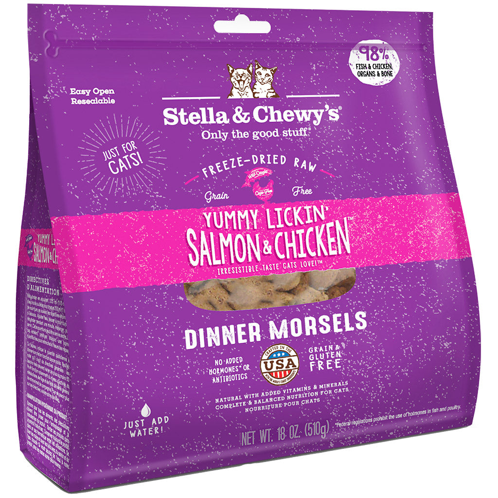 15% OFF: Stella & Chewy's® Yummy Lickin' Salmon & Chicken Dinner Morsels Freeze-Dried Cat Food (2 sizes)