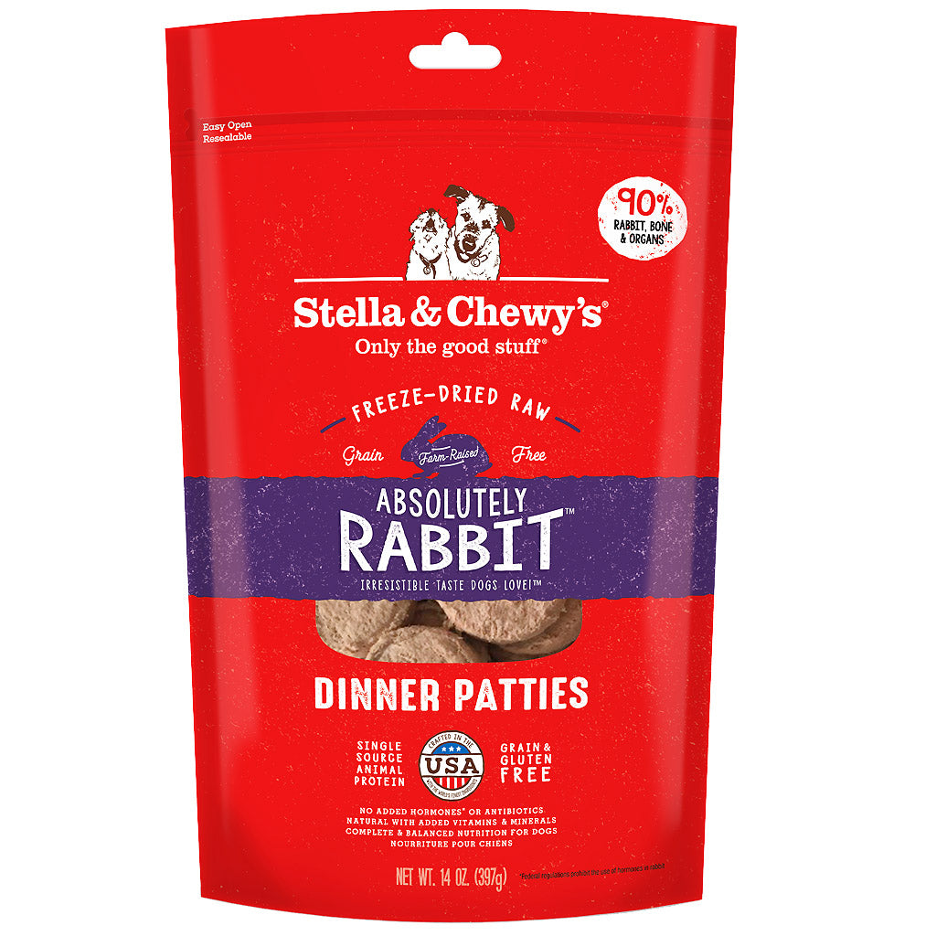 3 FOR $188 + FREE TREATS [SAVER]: Stella & Chewy's® Freeze-Dried Absolutely Rabbit Dinner Patties Dog Food (397g)