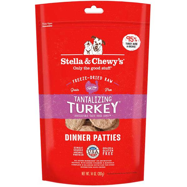 3 FOR $138 + FREE TREATS [SAVER]: Stella & Chewy's® Freeze-Dried Tantalizing Turkey Dinner Patties Dry Dog Food (397g)