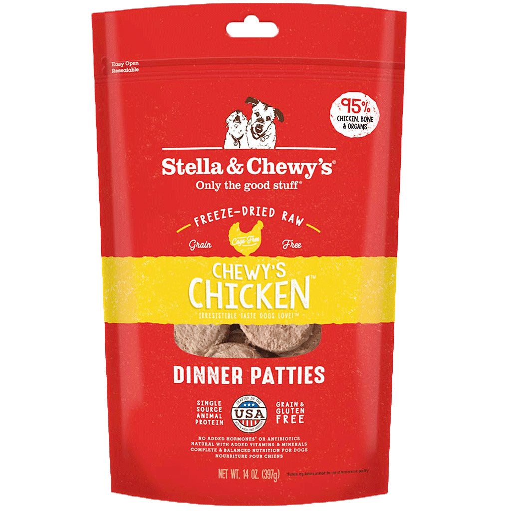 15% OFF: Stella & Chewy's® Freeze-Dried Chicken Dinner Patties Dog Food (2 sizes)