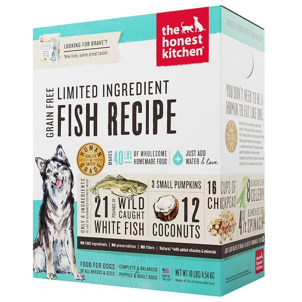 15% OFF + FREE TREATS: The Honest Kitchen® Brave Limited Ingredient Fish Grain-Free Dehydrated Dog Food (2 sizes)