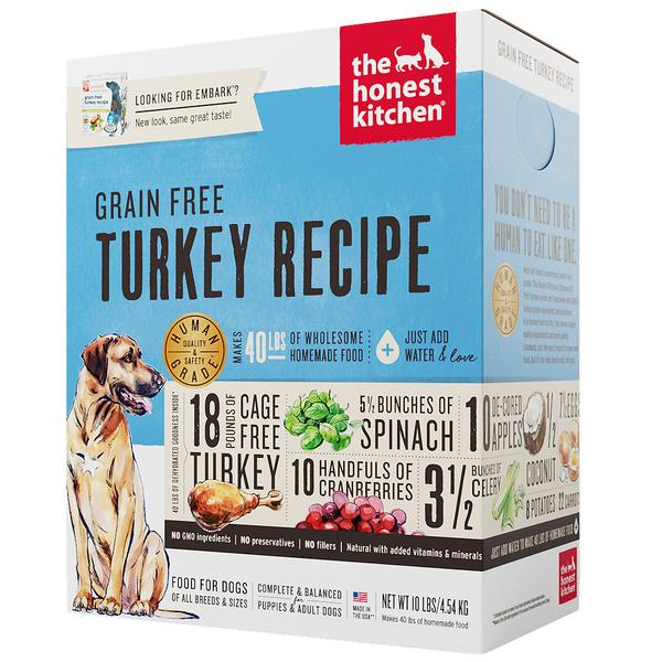 15% OFF + FREE TREATS: The Honest Kitchen® Embark Turkey Grain-Free Dehydrated Dog Food (3 sizes)