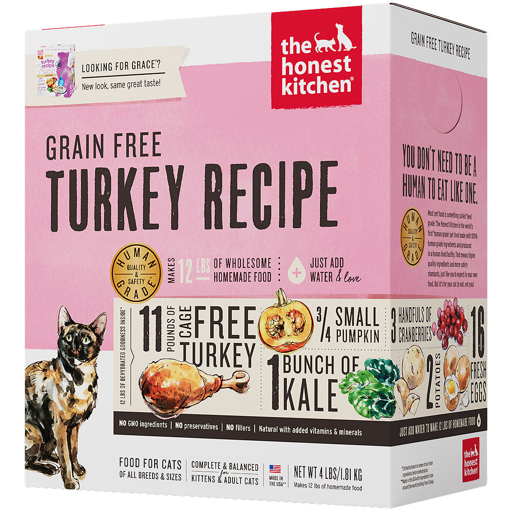 15% OFF + FREE TREATS: The Honest Kitchen® Grace Turkey Grain-Free Dehydrated Cat Food (2 sizes)