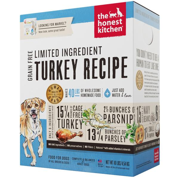 15% OFF + FREE TREATS: The Honest Kitchen® Marvel Turkey Limited Ingredient Grain-Free Dehydrated Dog Food (3 sizes)