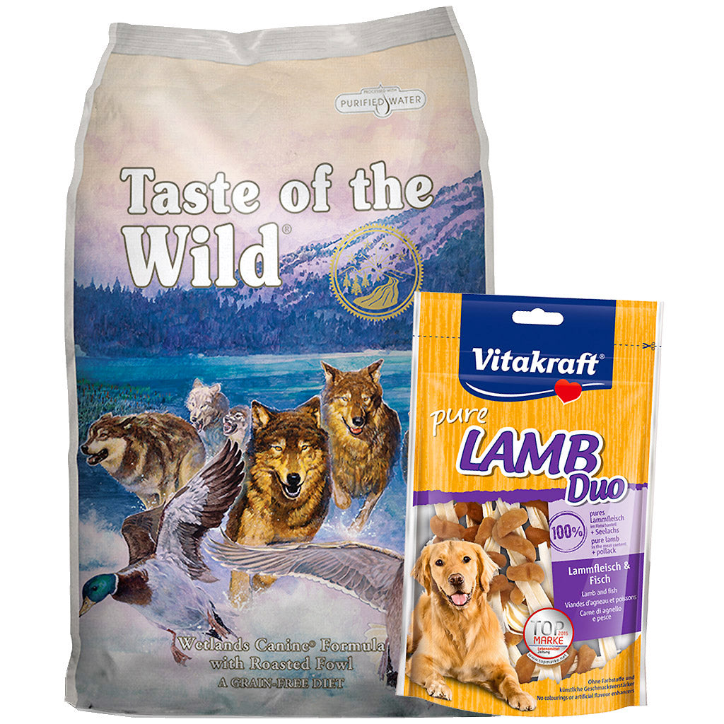 55% OFF + FREE TREATS: Taste Of The Wild® Wetlands Roasted Fowl Grain-Free Dry Dog Food (2 sizes)