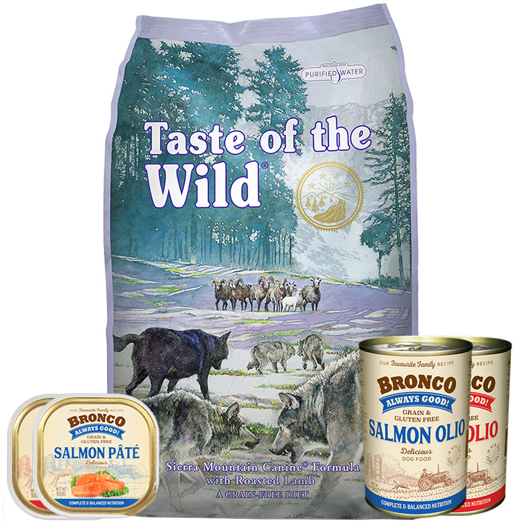 50% OFF + FREE CANS [GSS20]: Taste Of The Wild® Sierra Mountain Roasted Lamb Grain-Free Dry Dog Food (2 sizes)