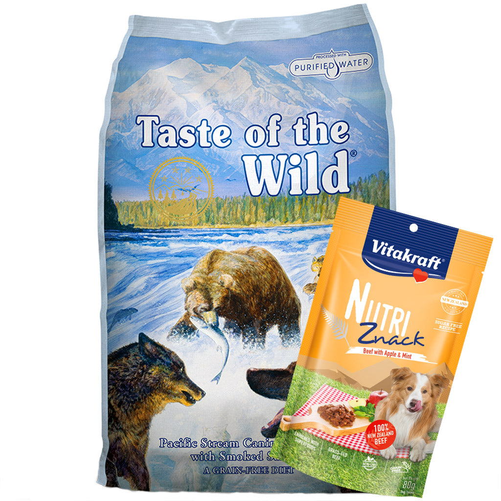 $9 ONLY + FREE TREATS [PETSALE]: Taste Of The Wild® Pacific Stream with Smoked Salmon Grain-Free Dry Dog Food (3 sizes)