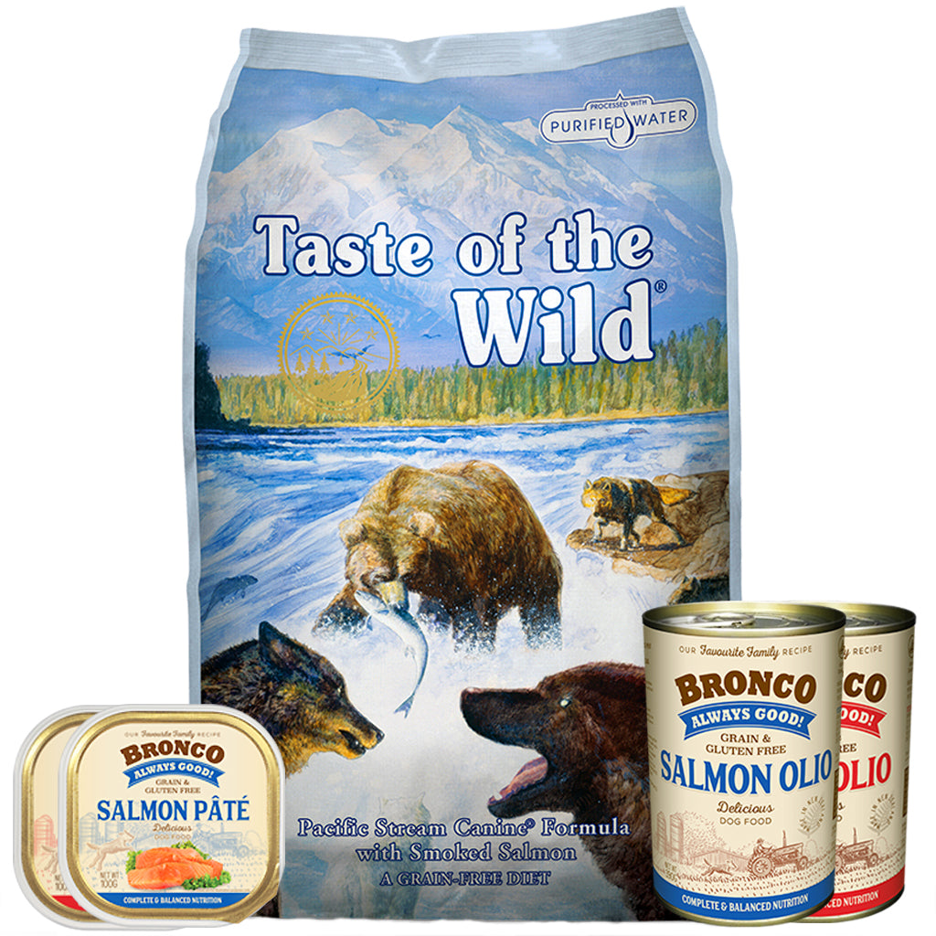 55% OFF + FREE WET FOOD [SAVER]: Taste Of The Wild® Pacific Stream with Smoked Salmon Grain-Free Dry Dog Food (2 sizes)