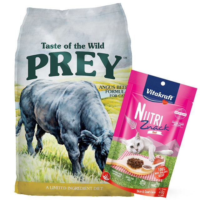 60% OFF + FREE TREATS [PETSALE]: Taste Of The Wild® PREY Agnus Beef Limited Ingredient Grain-Free Dry Cat Food (2 sizes)