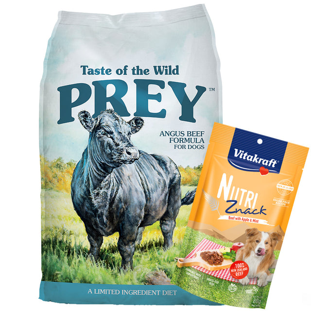 60% OFF + FREE TREATS [PETSALE]: Taste Of The Wild® PREY Agnus Beef Limited Ingredient Grain-Free Dry Dog Food (2 sizes)