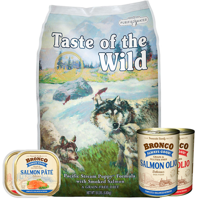 50% OFF + FREE CANS [GSS20]: Taste Of The Wild® Pacific Stream Puppy Grain-Free Dry Dog Food (2 sizes)