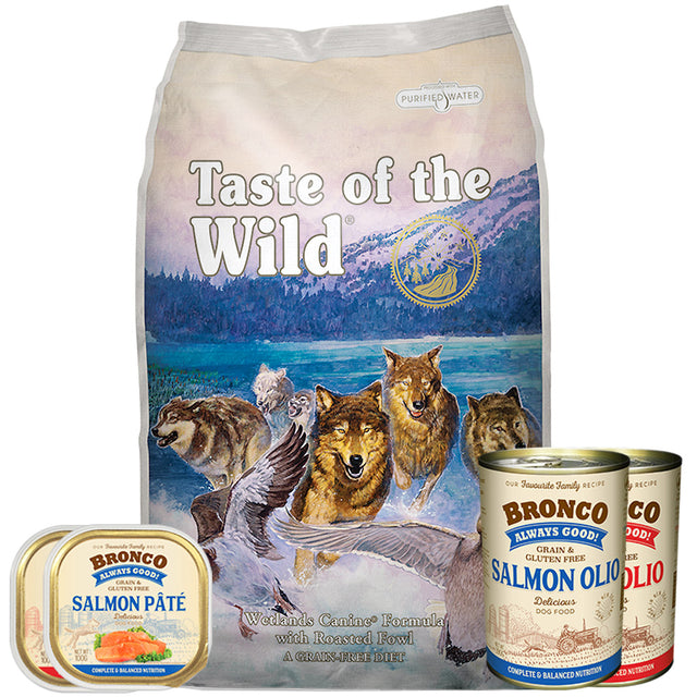 50% OFF + FREE CANS [GSS20]: Taste Of The Wild® Wetlands Roasted Fowl Grain-Free Dry Dog Food (2 sizes)