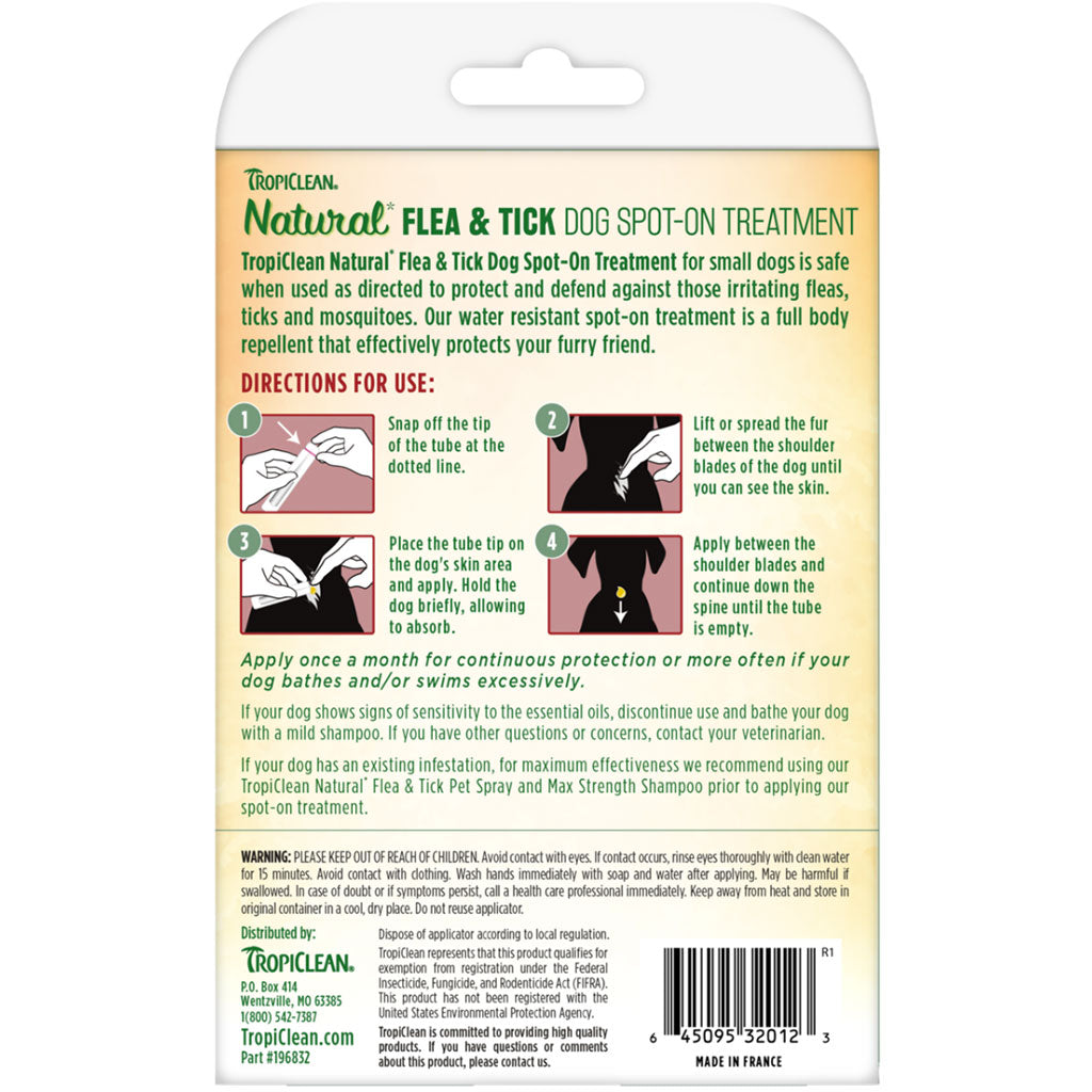 20% OFF: Tropiclean® Natural Flea & Tick Spot On Treatment for Medium Dogs (16-34kg)
