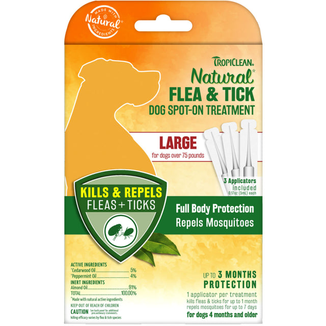 [NEW LAUNCH] Tropiclean® Natural Flea & Tick Spot On Treatment for Large Dogs (>34kg)
