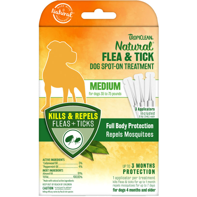 [NEW LAUNCH] Tropiclean® Natural Flea & Tick Spot On Treatment for Medium Dogs (16-34kg)
