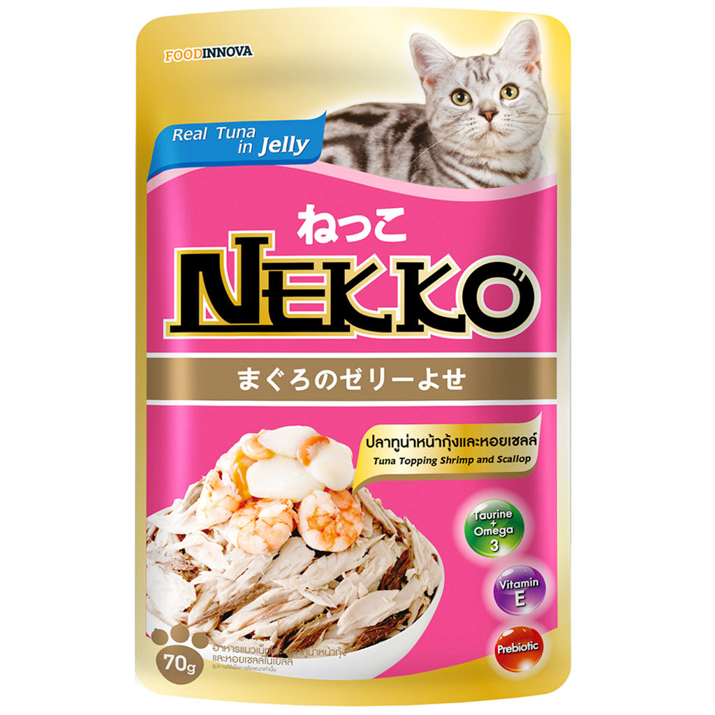 45% OFF: Nekko® Tuna With Shrimp & Scallop Pouch Cat Food 70g