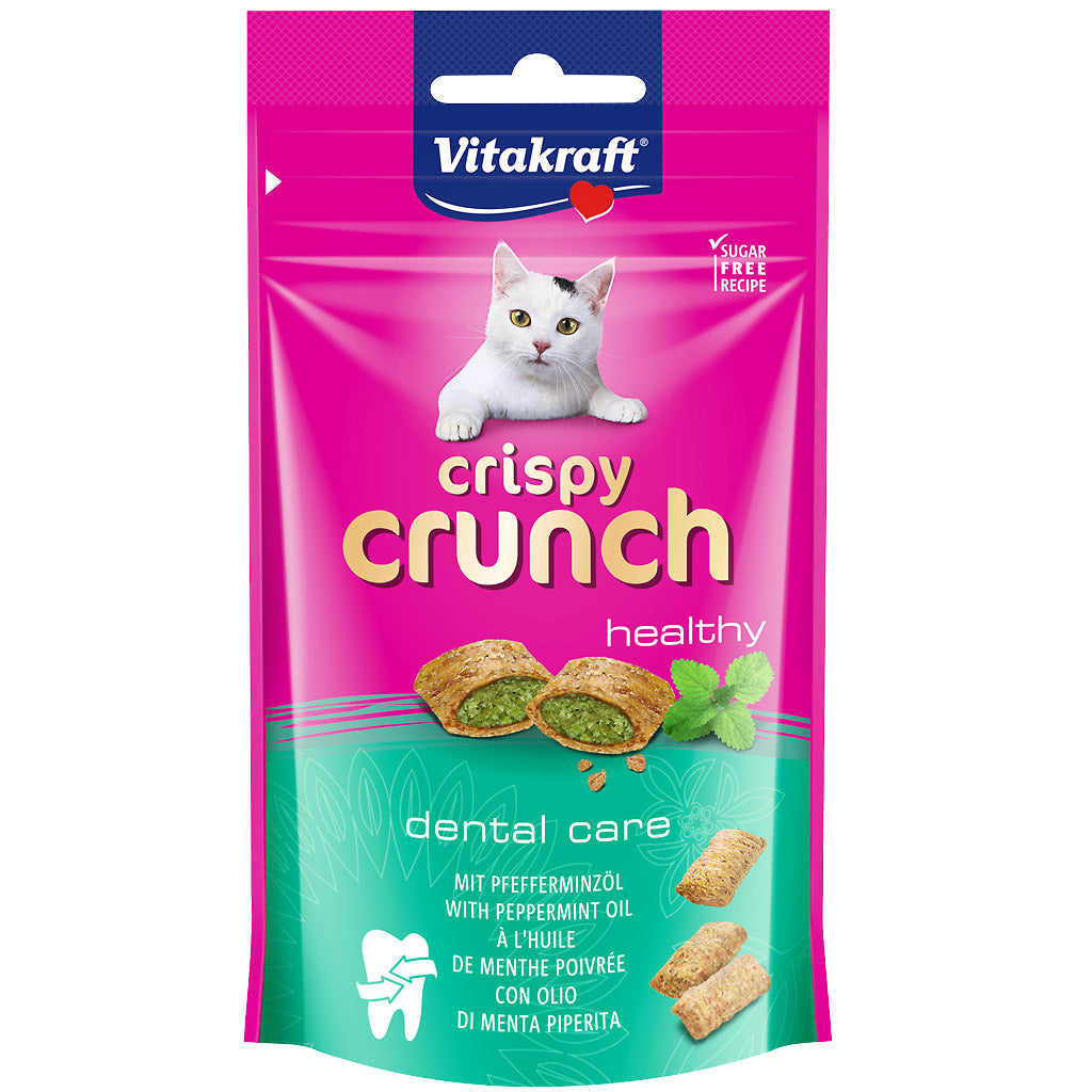 3 FOR $9 [SAVER]: Vitakraft® Crispy Crunch Dental Care with Peppermint Cat Treats (60g)