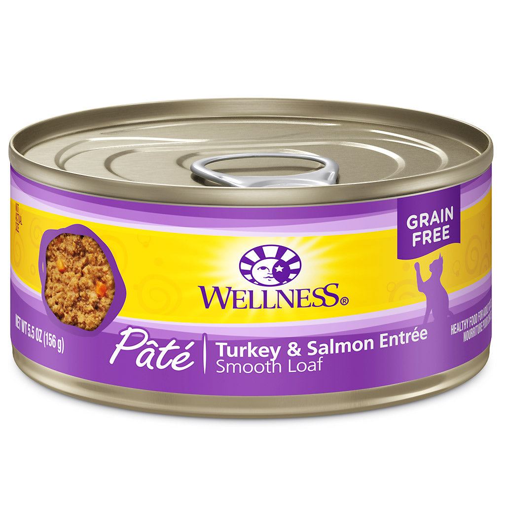 25% OFF: Wellness® Complete Health Pate Turkey & Salmon Entree Grain-Free Canned Cat Food 156g (12/24pcs)
