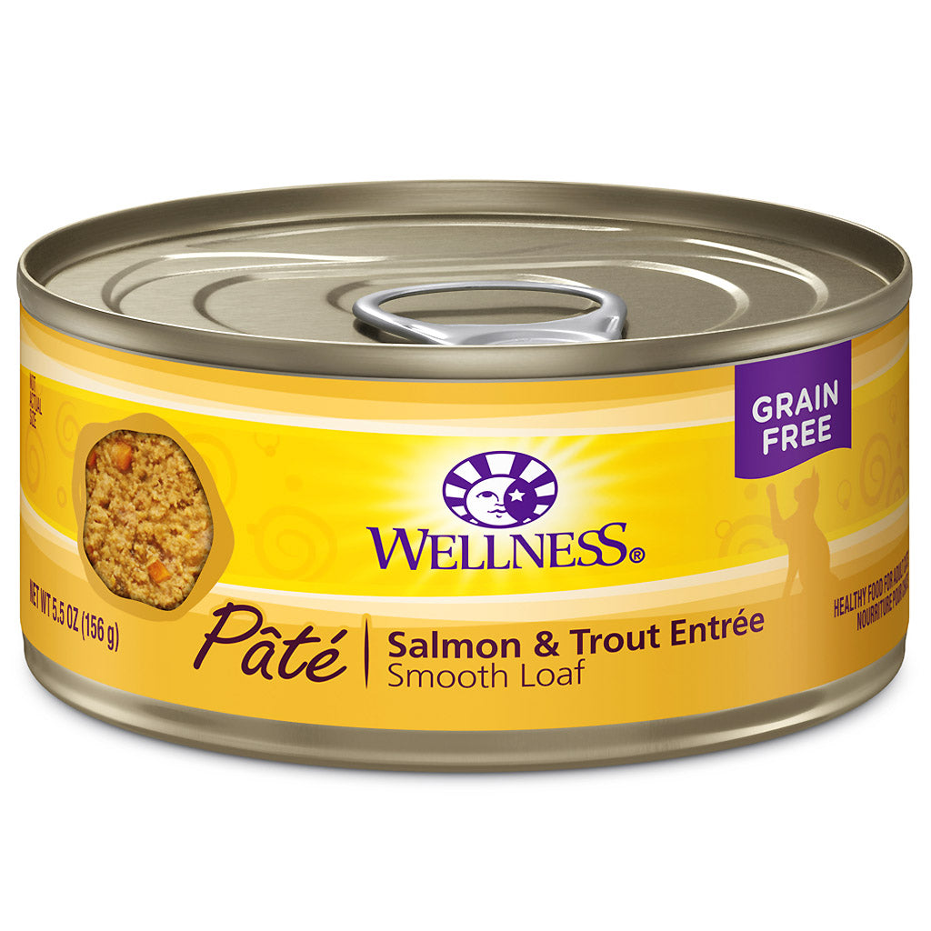 25% OFF: Wellness® Complete Health Pate Salmon & Trout Entree Grain-Free Canned Cat Food 156g (12/24pcs)