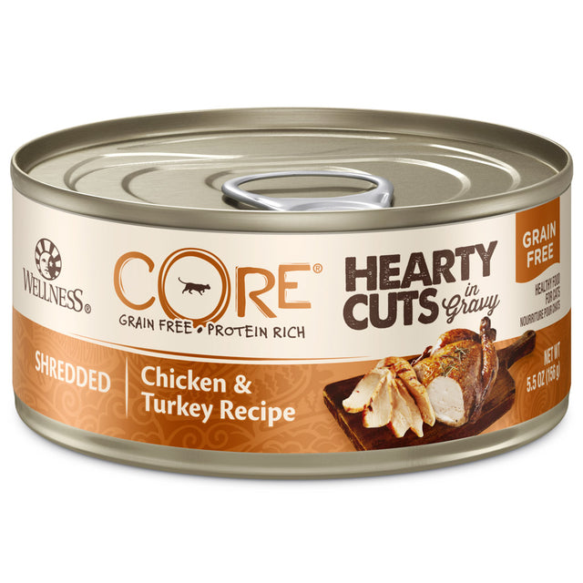25% OFF + FREE TREATS: Wellness® CORE Hearty Cuts Chicken & Turkey Grain-Free Canned Cat Food 156g (12/24pcs)