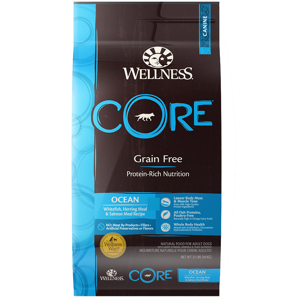 30% OFF + FREE TREATS [SAVER]: Wellness® CORE Ocean Fish Grain-Free Dry Dog Food (3 sizes)