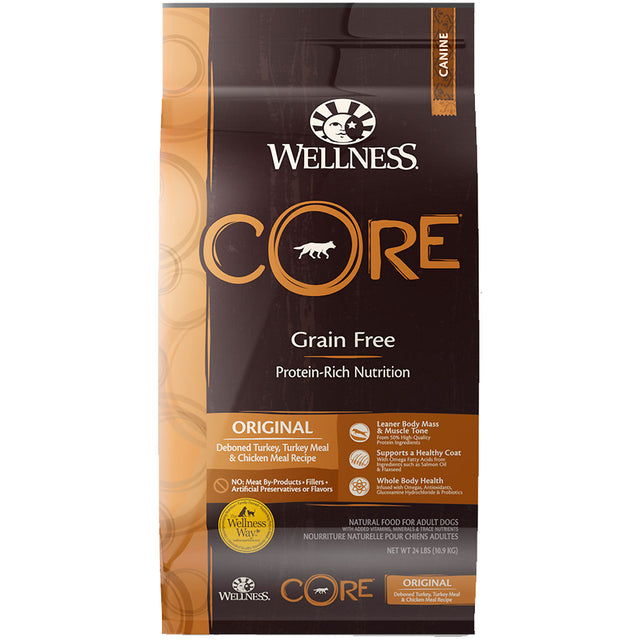 30% OFF + FREE TREATS [SAVER]: Wellness® CORE Original Grain-Free Dry Dog Food (3 sizes)
