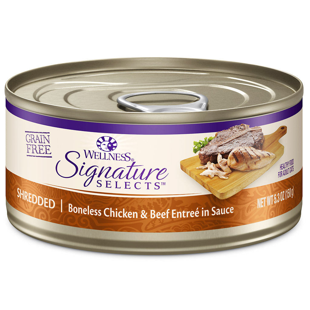 25% OFF: Wellness® CORE Signature Selects Shredded Chicken & Beef Grain-Free Canned Cat Food 150g (12/24pcs)