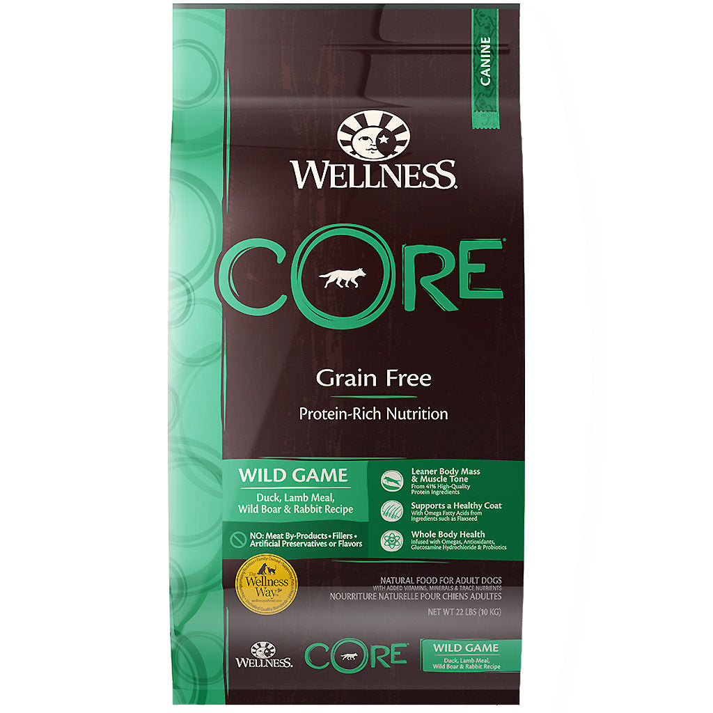 30% OFF + FREE DENTAL KIT: Wellness® CORE Wild Game Grain-Free Dry Dog Food (3 sizes)
