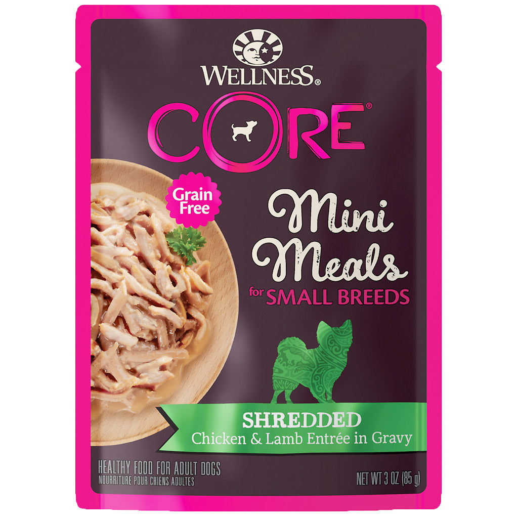 BUY 3 FREE 1 [SAVER]: Wellness® CORE Small Breed Mini Meals Shredded Chicken & Lamb Entree in Gravy Dog Food Mixer 85g