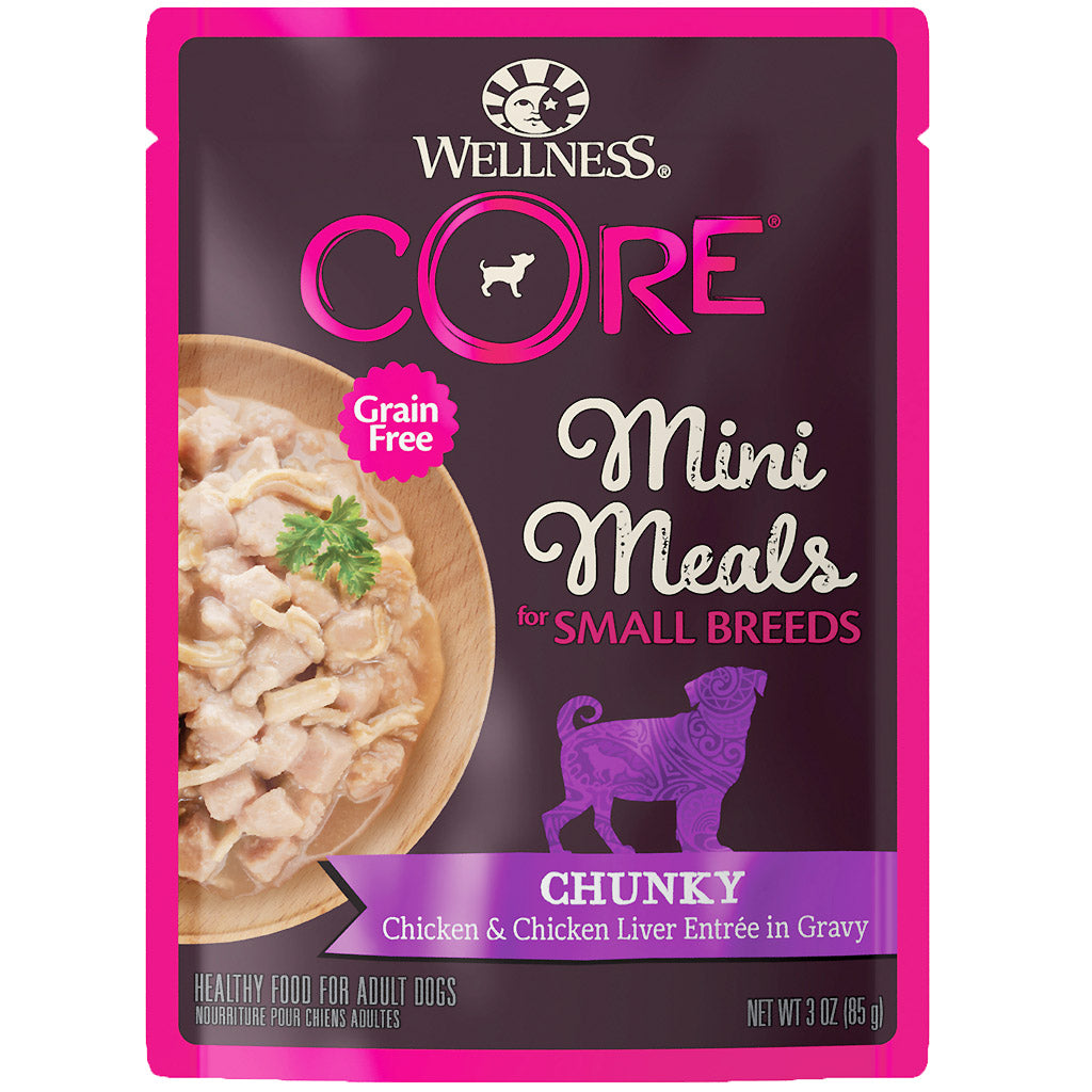 BUY 3 FREE 1 [SAVER]: Wellness® CORE Small Breed Mini Meals Chunky Chicken & Chicken Liver Dog Food Mixer 85g
