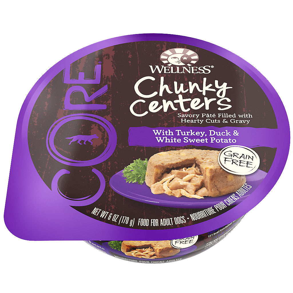 BUY 3 FREE 1: Wellness® CORE Chunky Centers Turkey, Duck & Sweet Potato Wet Dog Food