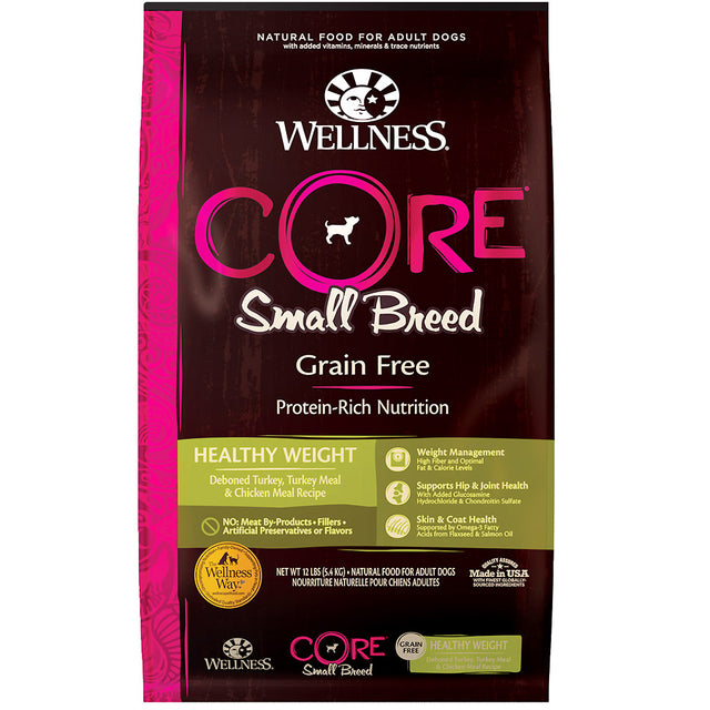 30% OFF + FREE TREATS [SAVER]: Wellness® CORE Small Breed Healthy Weight Grain-Free Dry Dog Food (2 sizes)
