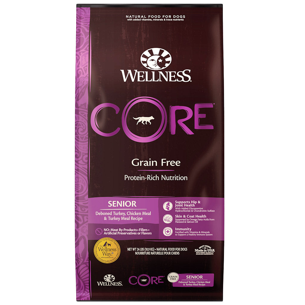 30% OFF + FREE TREATS: Wellness® CORE Senior Grain-Free Dry Dog Food (3 sizes)