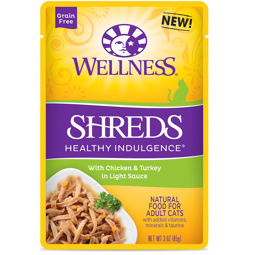 BUY 3 FREE 1 [NEW}: Wellness® CORE Healthy Indulgence Shreds Chicken & Turkey Wet Cat Food 85g
