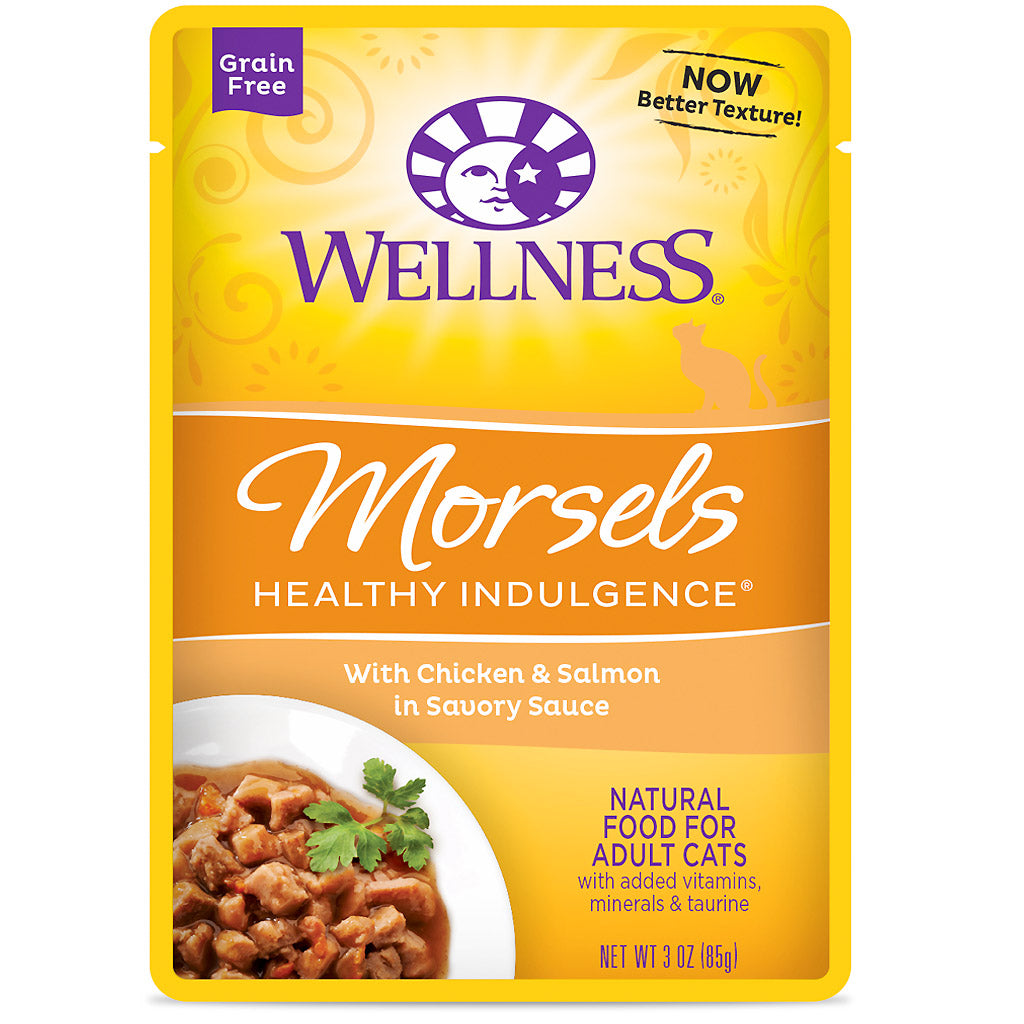 BUY 3 FREE 1 [NEW}: Wellness® CORE Healthy Indulgence Morsels Chicken & Salmon Wet Cat Food 85g